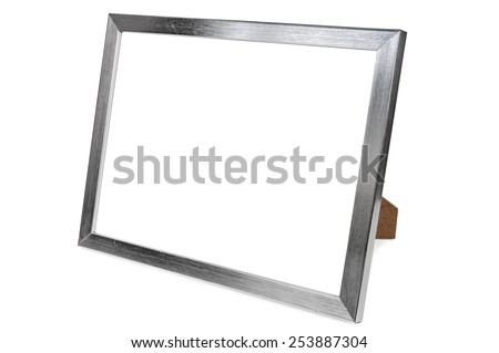 Aluminum empty photo frame isolated on white background with clipping path
