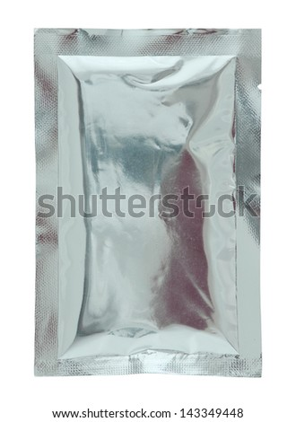Aluminum foil bag package isolated on white background - stock photo