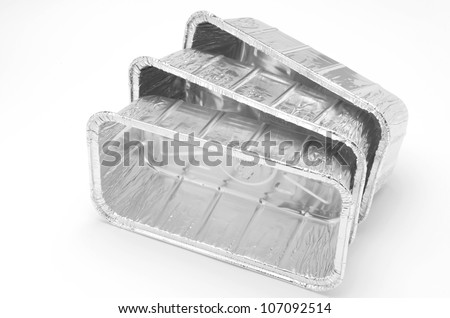aluminum foil food container tray - stock photo
