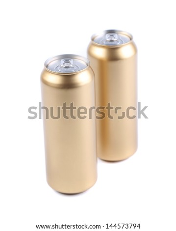 aluminum golden cans isolated on a white