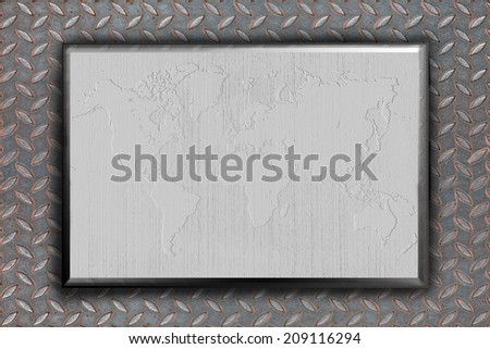 Aluminum grunge wold mapon metal background - stock photo