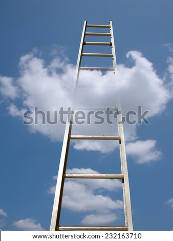 aluminum ladder in a fluffy cloud with bright blue sky - stock photo