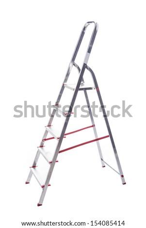 Aluminum ladder isolated on white background - stock photo