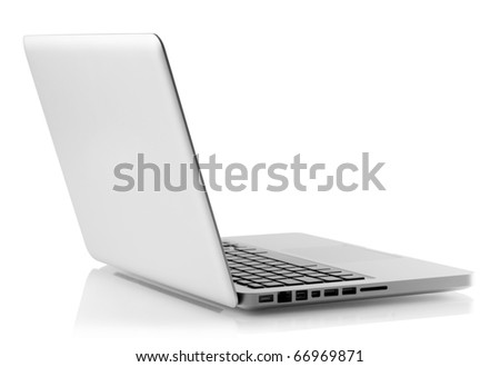 Aluminum laptop. Rear view. Isolated on white background - stock photo