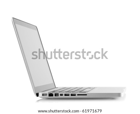 Aluminum laptop with blank screen. Isolated on white background - stock photo