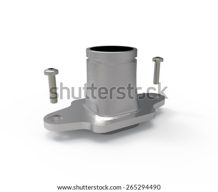 aluminum manifold mechanical parts with screws (3d graphics). - stock photo