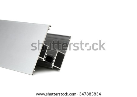 Aluminum profile isolated on white background with copy space