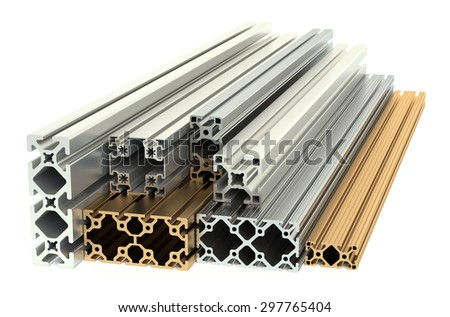 Aluminum profiles and copper profiles isolated on white background - stock photo