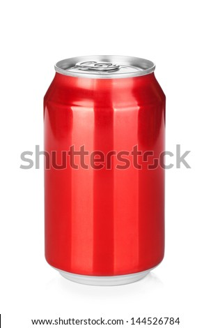 Aluminum red soda can. Isolated on white background - stock photo