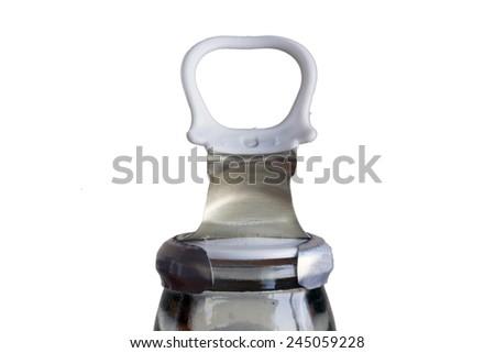 Aluminum ring pull of bottle isolated on white background - stock photo