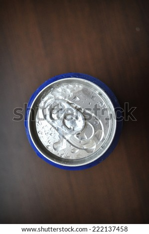 Aluminum Soda Can With Ice And Water Drops - stock photo
