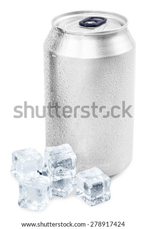 aluminum soda can with ice cube isolated on white  - stock photo