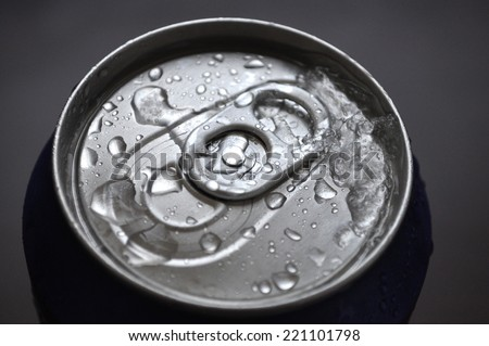Aluminum Soda Can With Water Drops - stock photo