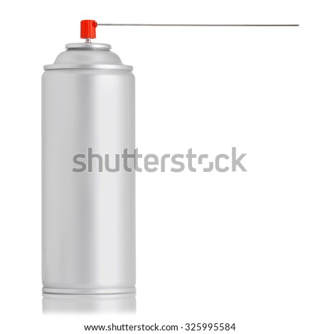 aluminum spray insecticide can isolated on white background. studio shot - stock photo