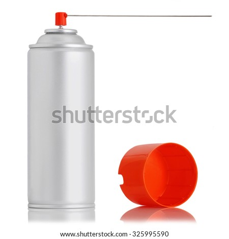 aluminum spray insecticide can isolated on white background, studio shot - stock photo