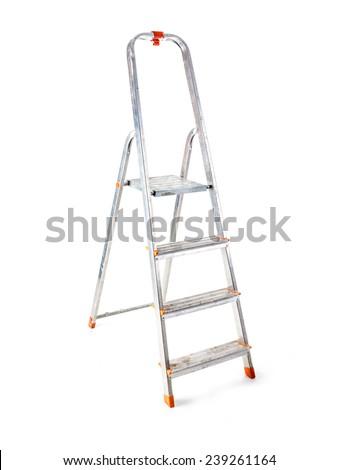 Aluminum step ladder shot on white background - stock photo