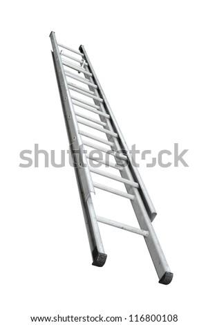 Aluminum stepladder isolated on white background - stock photo