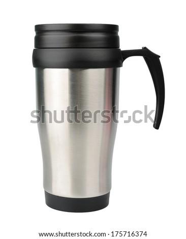 Aluminum thermos mug isolated on white  - stock photo
