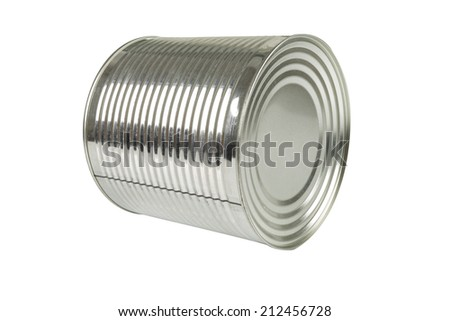 aluminum tin can for food on a white background - stock photo