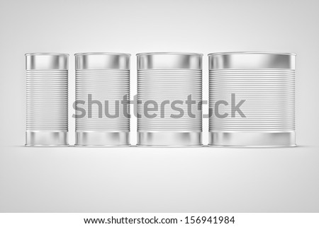 Aluminum tin can on a white background - stock photo