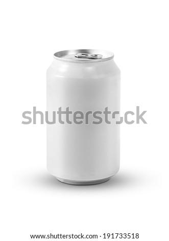Aluminum white soda can. Isolated on white background - stock photo
