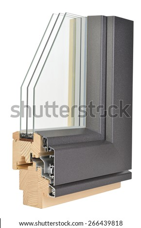 Aluminum/wooden window profile with triple glazing - stock photo