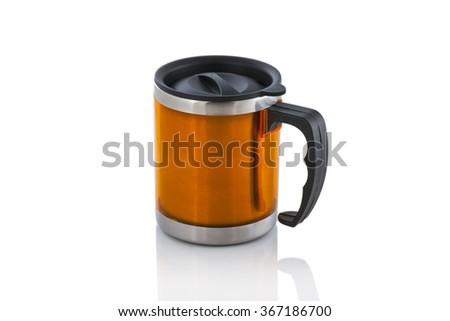 Aluminum yellow mug isolated on white - stock photo