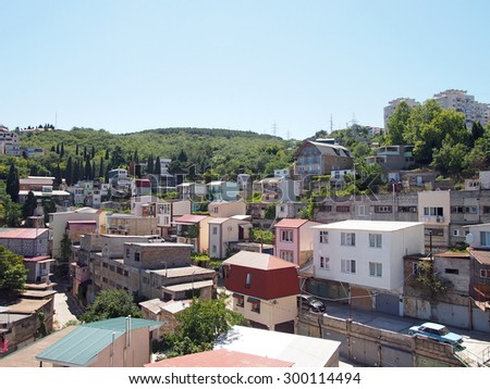 ALUSHTA, RUSSIA - July 23, 2015: Crimean favelas garages rebuilt for apartments