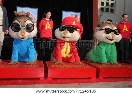 Alvin and the Chipmunks at the Alvin and the Chipmunks' Hand and Footprint Ceremony, Chinese Theater, Hollywood, CA 11-1-11