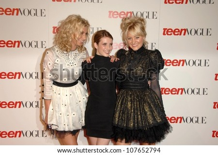 Alyson Michalka with Emma Roberts and Amanda Michalka  at the Teen Vogue Young Hollywood Party. Los Angeles County Museum of Art, Los Angeles, CA. 09-18-08