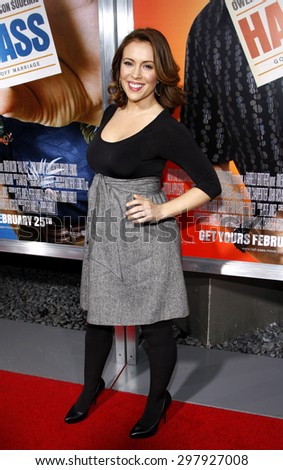 Alyssa Milano at the Los Angeles premiere of 'Hall Pass' held at the ArcLight Cinemas in Hollywood on February 23, 2011.   - stock photo