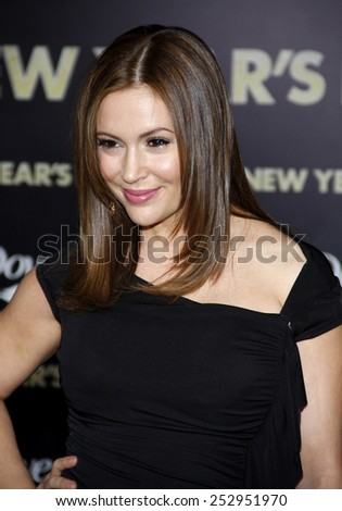 "Alyssa Milano at the Los Angeles Premiere of ""New Year's Eve"" held at the Grauman's Chinese Theater in Los Angeles, California, United States on December 5, 2011.  - stock photo"