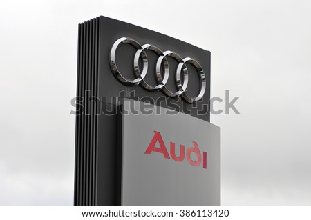 ALZEY,GERMANY-MARCH 03:AUDI logo on March 03,2016 in Alzey,Germany.Audi AG is a German automobile manufacturer