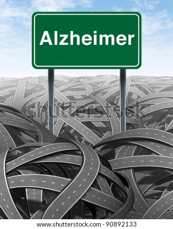 Alzheimer Disease and Dementia medical concept with a green highway road sign with text refering to memory loss and human brain problems with tangled roads and twisted streets a symbol of confusion.