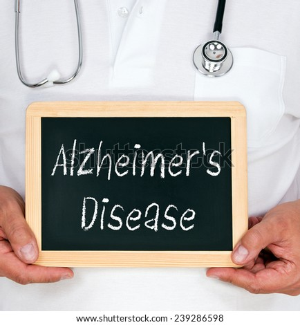Alzheimer's Disease - Physician with chalkboard - stock photo