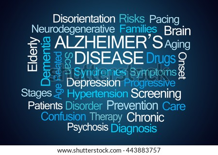 Alzheimer's Disease Word Cloud on Blue Background