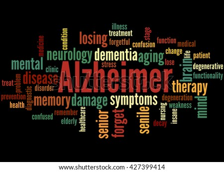Alzheimer, word cloud concept on black background.