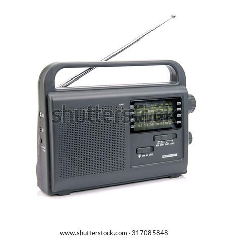 AM FM Radio isolated on white background - stock photo
