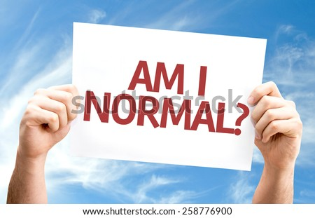 Am I Normal? card with sky background - stock photo