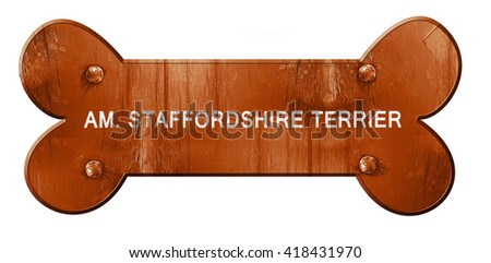 Am. staffordshire terrier, 3D rendering, rough brown dog bone - stock photo