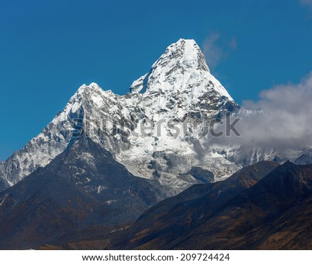 Ama Dablam (6812 m) in the first light of the Sun (view from Phortse to Periche trek) - Everest region, Nepal, Himalayas