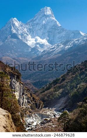 Ama Dablam massif - Everest region, Nepal Himalayas  - stock photo