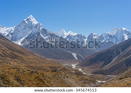 Ama Dablam mountain from the way to Dzongla village, Nepal
