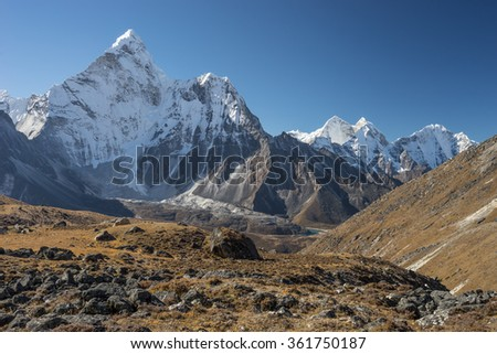 Ama Dablam mountain peak from Kongma la pass, Everest region Nepal