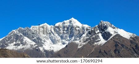 ama dablam peak in trekway  from nepal in everest himalaya trek - stock photo