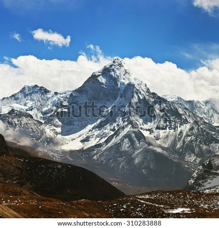Ama Dablam peak - view from Cho La pass, Sagarmatha National park, Everest region, Nepal. Ama Dablam (6858 m) is one of the most spectacular mountains in the world and a true alpinists dream