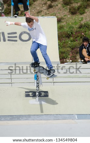 AMADORA, PORTUGAL - APRIL 07: Gabriel Ribeiro at 4th Stage on DC Skate Challenge by Meo on april 07, 2013 in Amadora, Portugal.