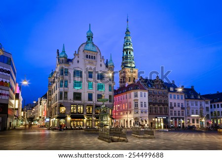 Amagertorv Square and Stork Fountain in the Old Town of Copenhagen, Denmark - stock photo