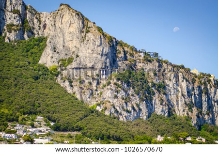 amalfi coast mountains landscape with moon