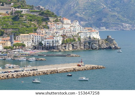 AMALFI, ITALY - JULY 5: View of Amalfi, one of the most beautiful and touristic villages of Amalfi Coast, on July 5, 2013, in Amalfi, Italy.